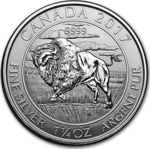 Canadian 1 1 4 Oz Silver 8 Dollars Quot Bison Quot 2017 Coin Value