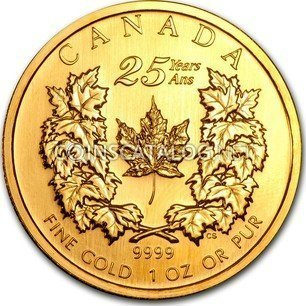 Canadian 1 Oz Gold 50 Dollars Quot Maple Leaf 25th Anniversary