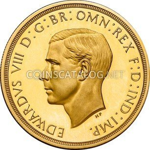 """Great Britain Gold 5 Pounds """"Edward VIII (Pattern)"""" 1937 coin"""