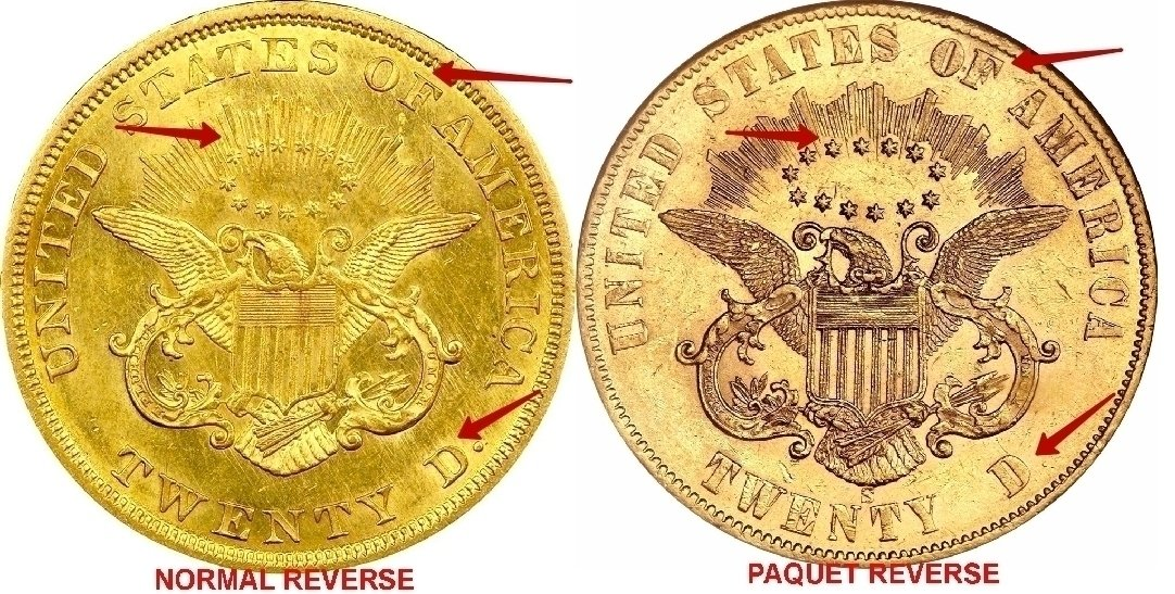 """Illustration of the specifics of the Gold Twenty D. """"Liberty Double Eagle"""" 1861 KM# 93"""
