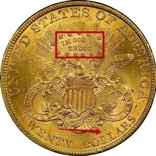 """Illustration of the specifics of the Gold Twenty Dollars """"Liberty Double Eagle"""" 1877 - 1907 KM# 74.3"""