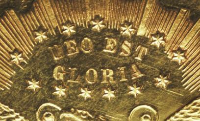 "Illustration of the specifics of the Gold Twenty Dollars ""Quintuple Stella"" 1879 KM# Pn1728"