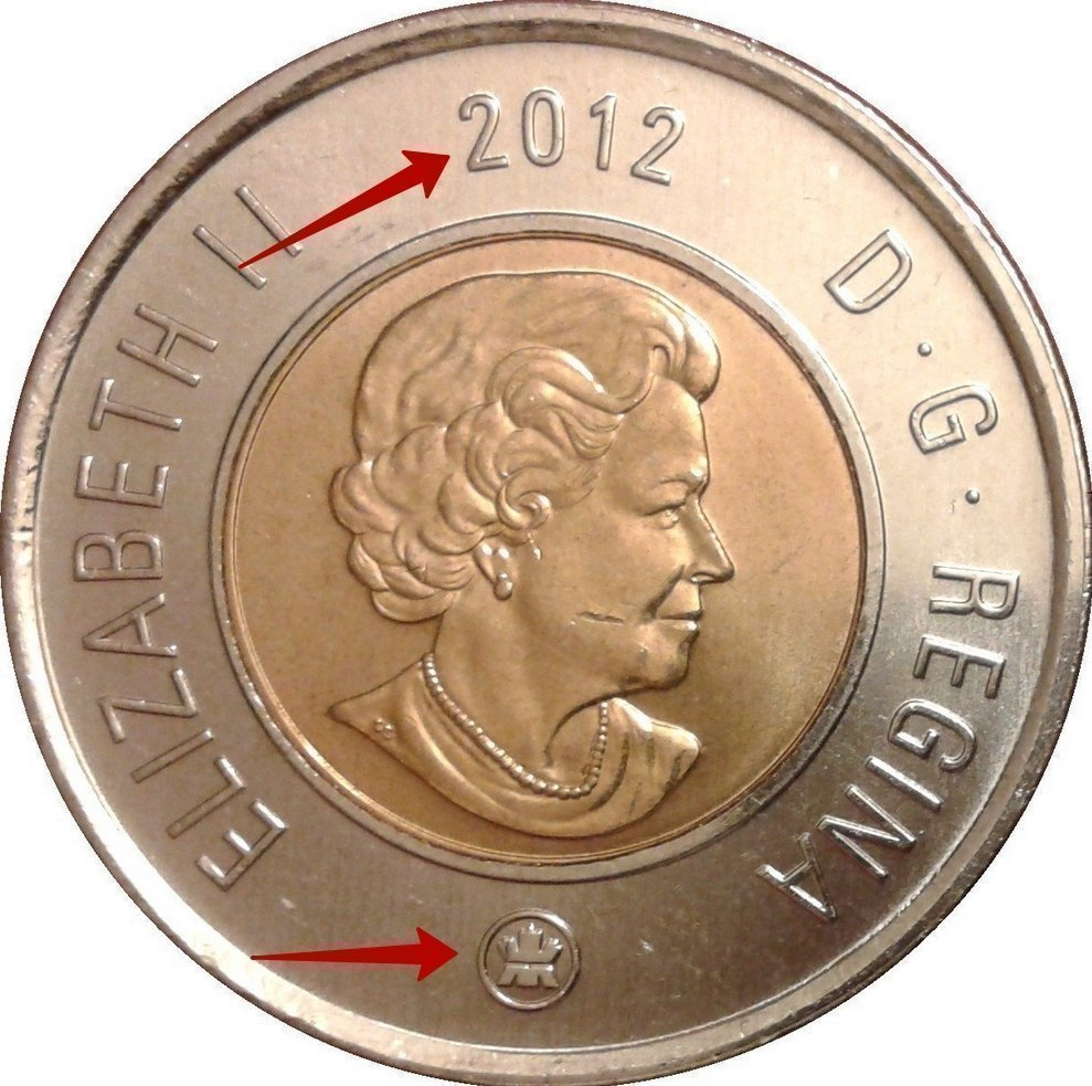 """Illustration of the specifics of the 2 Dollars """"Toonie"""" 2003 - 2012 KM# 837"""