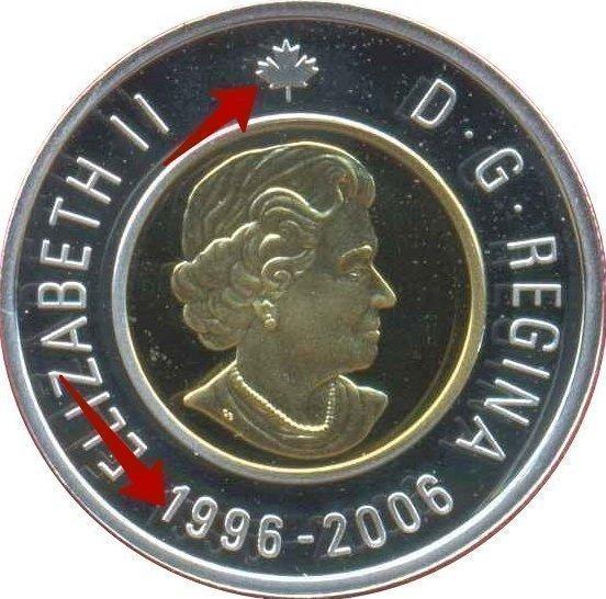 "Illustration of the specifics of the 2 Dollars ""Polar Bear"" 2006 KM# 631"