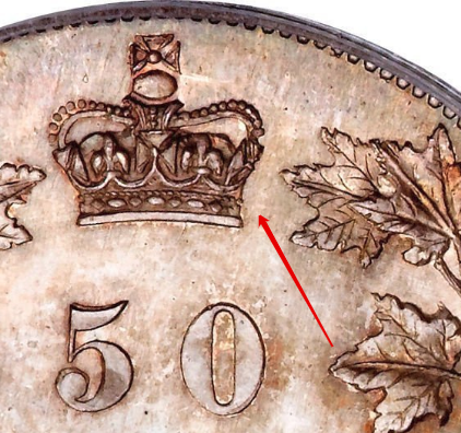 """Illustration of the specifics of the Silver 50 Cents """"Victoria"""" 1870 - 1901 KM# 6"""