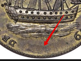 Illustration of the specifics of the Rhode Island Ship Token Rhode Island Ship Tokens 1779 KM# Tn27b