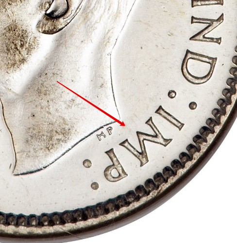 """Illustration of the specifics of the Silver 10 Cents """"George VI"""" 1937 - 1947 KM# 34"""