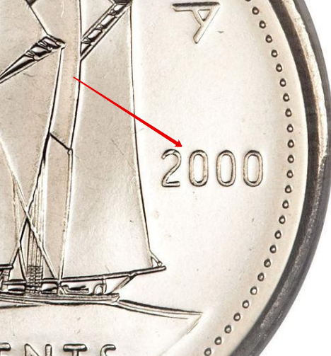 """Illustration of the specifics of the 10 Cents """"Elizabeth II 3rd portrait"""" 1999 - 2003 KM# 183b"""