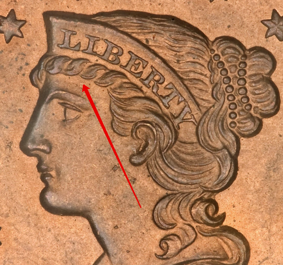 """Illustration of the specifics of the Cent """"Braided Hair"""" 1839 - 1857 KM# 67"""