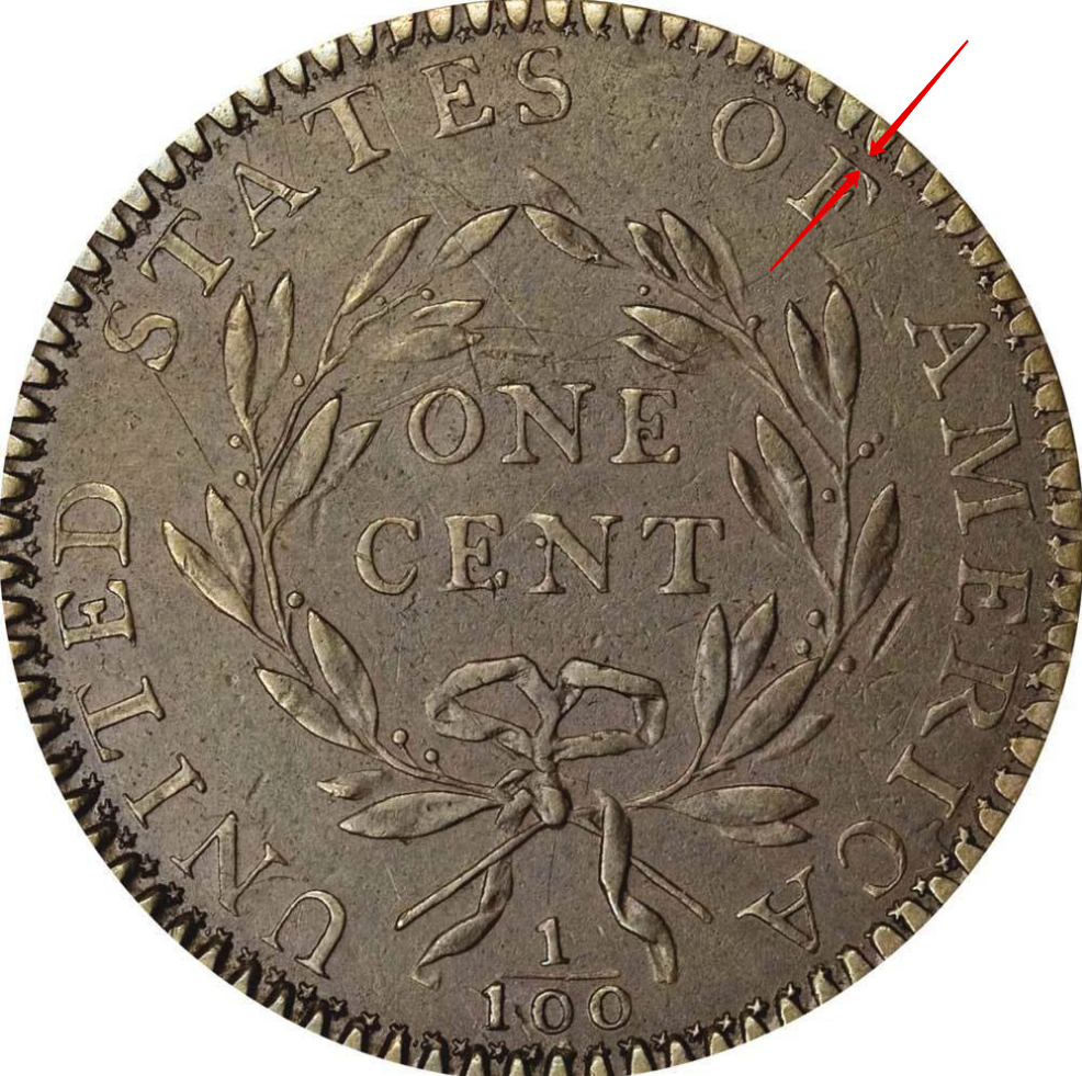 """Illustration of the specifics of the One Cent """"Liberty Cap"""" 1793 - 1795 KM# 13"""