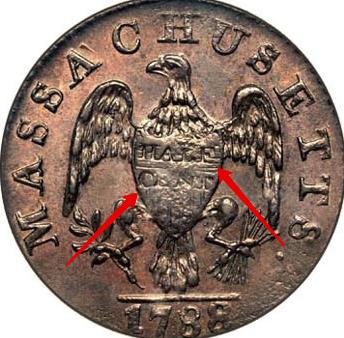 "Illustration of the specifics of the Half Cent ""Massachusetts"" 1787 - 1788 KM# 19"