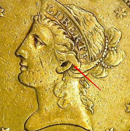 """Illustration of the specifics of the Gold Ten D. """"Coronet Head"""" 1839 - 1866 KM# 66.2"""