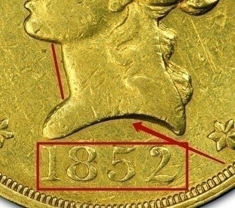 "Ten D. ""Wass Molitor California Gold Rush"" 1852 KM# 57 identifier photo title:"