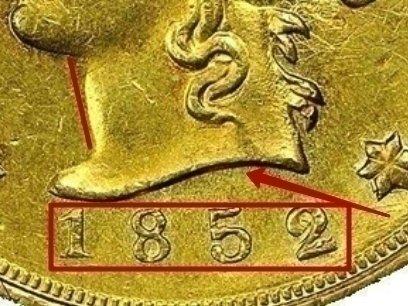 Gold Ten D. Wass, Molitor & Company 1852 KM# 58 identifier photo title: