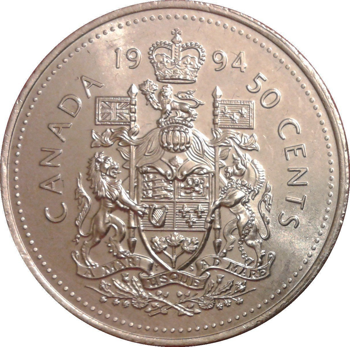 """Illustration of the specifics of the 50 Cents """"Elizabeth II 3rd portrait"""" 1990 - 1996 KM# 185"""