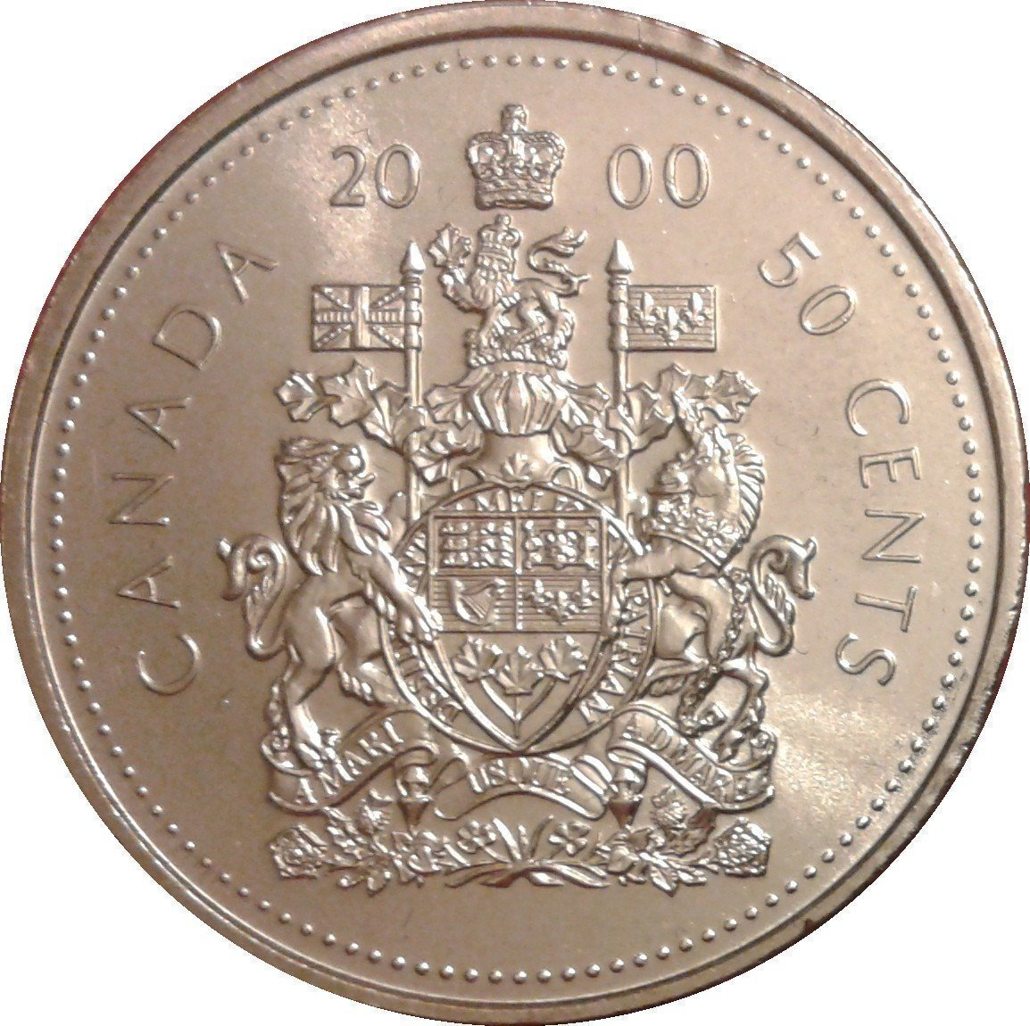 """Illustration of the specifics of the 50 Cents """"Coat of arms - Elizabeth II (3rd portrait)"""" 1999 - 2003 KM# 290b"""