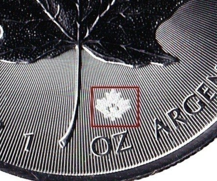 """Illustration of the specifics of the 1 Oz Silver 5 Dollars """"Maple leaf"""" 2014 - 2021 KM# 1601"""