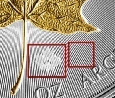 "Illustration of the specifics of the 1 Oz Silver 5 Dollars ""Golden Maple Leaf"" 2014 - 2017"