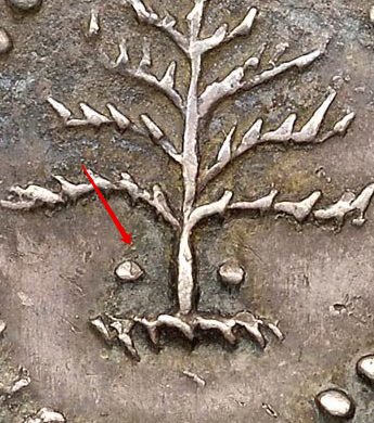 Illustration of the specifics of the Silver III Pence Pine Tree 1652 KM# 12