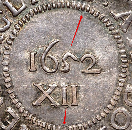 """Illustration of the specifics of the Silver Shilling """"Pine Tree"""" 1652 KM# 15"""