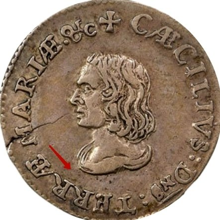 """Silver IV Pence (Groat) """"Lord Baltimore"""" 1659 KM# 3 identifier photo title:"""