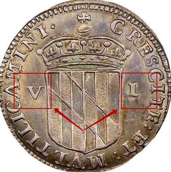 "Silver VI Pence ""Lord Baltimore"" 1659 KM# 4 identifier photo title:"