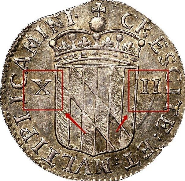"Silver Shilling ""Lord Baltimore"" 1659 KM# 6 identifier photo title:"