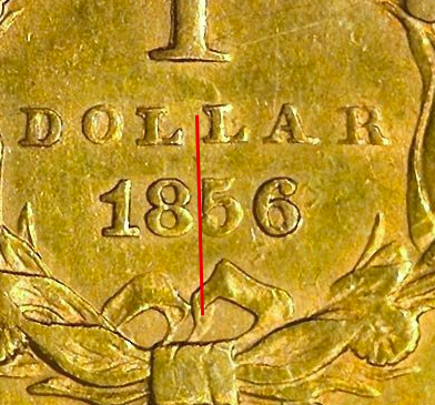 """Illustration of the specifics of the Gold Dollar """"Indian Head - Type 3"""" 1856 - 1889 KM# 86"""