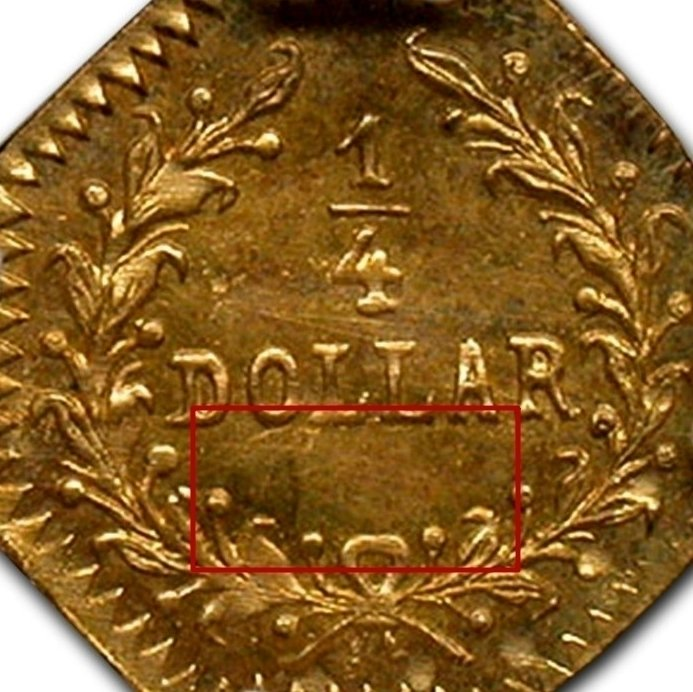 """Illustration of the specifics of the Gold 1/4 Dollar """"Indian Head (Octagonal)"""" 1852 - 1881 KM# 2.1"""