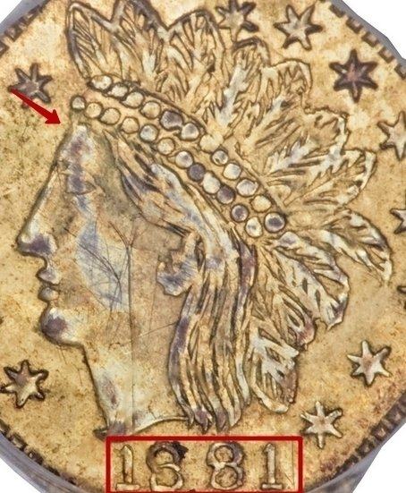"""Illustration of the specifics of the Gold 1/4 Dollar """"Dumb indian head (Octagonal)"""" 1881 KM# 2.6"""
