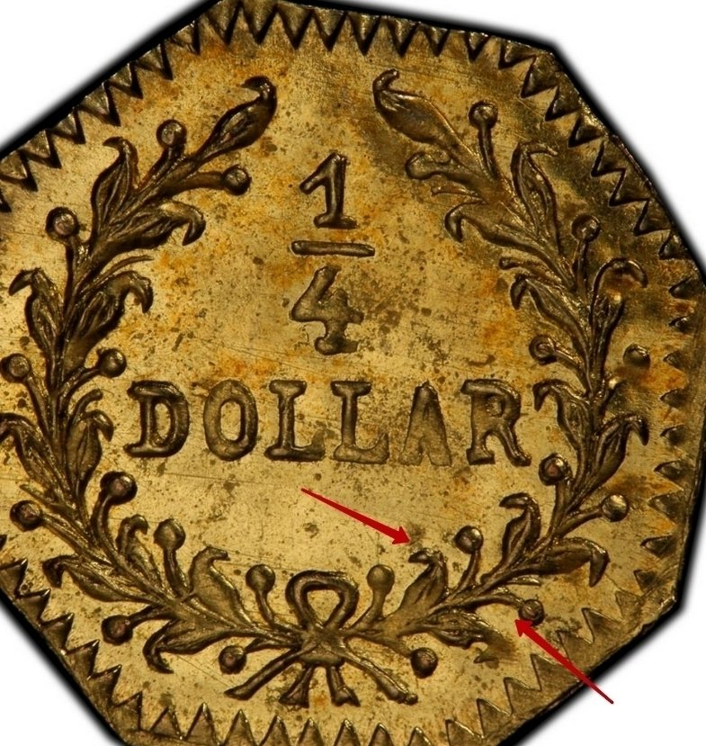 """Illustration of the specifics of the Gold 1/4 Dollar """"Young Indian head (Octagonal)"""" 1881 KM# 2.7"""