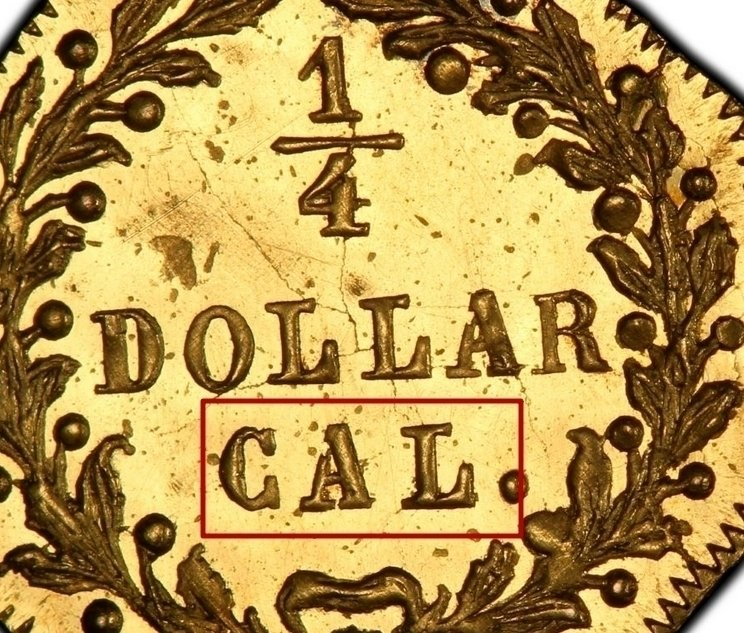 """Illustration of the specifics of the Gold 1/4 Dollar """"Indian Head (Octagonal)"""" 1872 - 1876 KM# 2.2"""