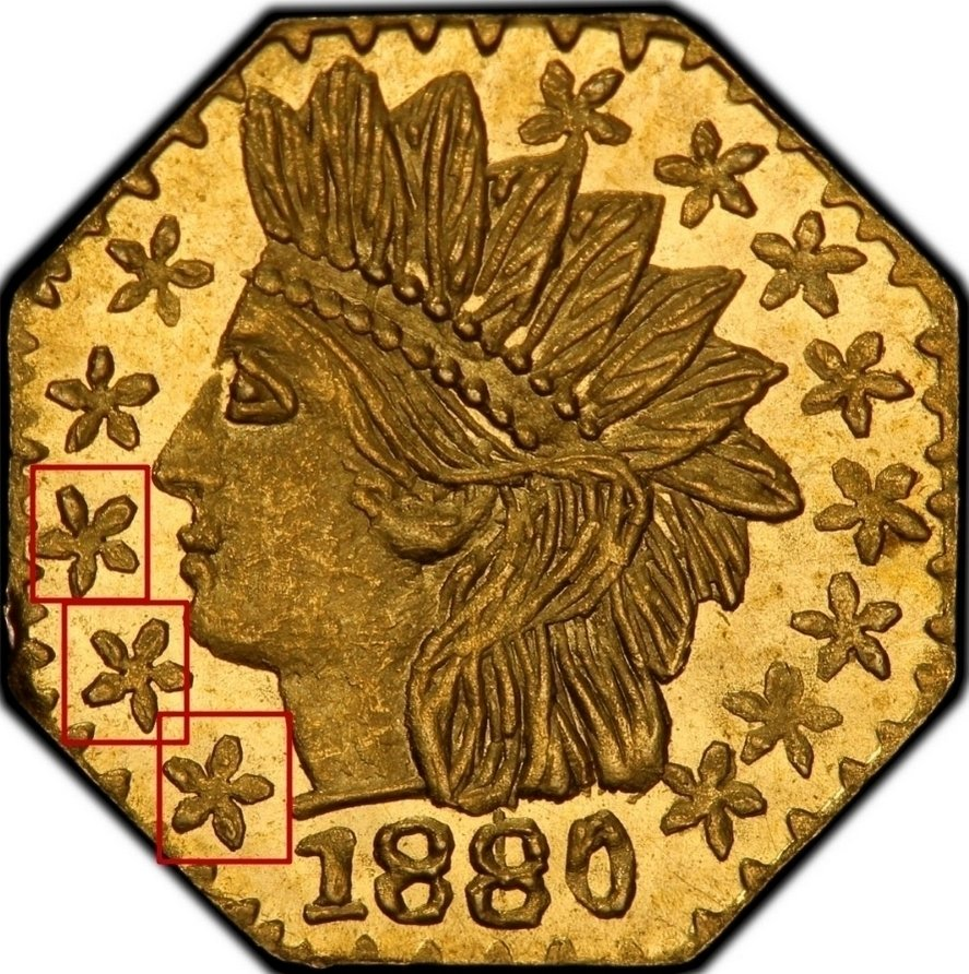 """Illustration of the specifics of the Gold 1/4 Dollar """"Indian Head (Octagonal)"""" 1880 KM# 2.4"""