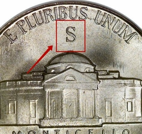 """Illustration of the specifics of the Five Cents """"Monticello"""" 1942 - 1945 KM# 192a"""