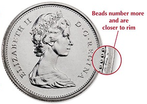 """Illustration of the specifics of the 50 Cents """"Elizabeth II 2nd portrait"""" 1968 - 1976 KM# 75.1"""