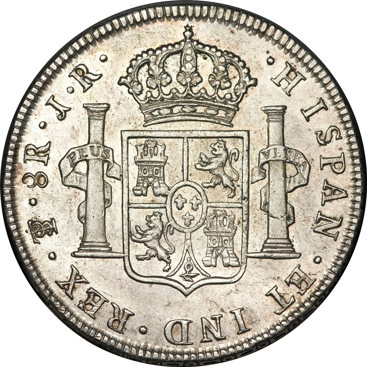 "Illustration of the specifics of the Silver 5 Shillings (1 Crown) ""Holey Dollar"" 1813 KM# 2.1"