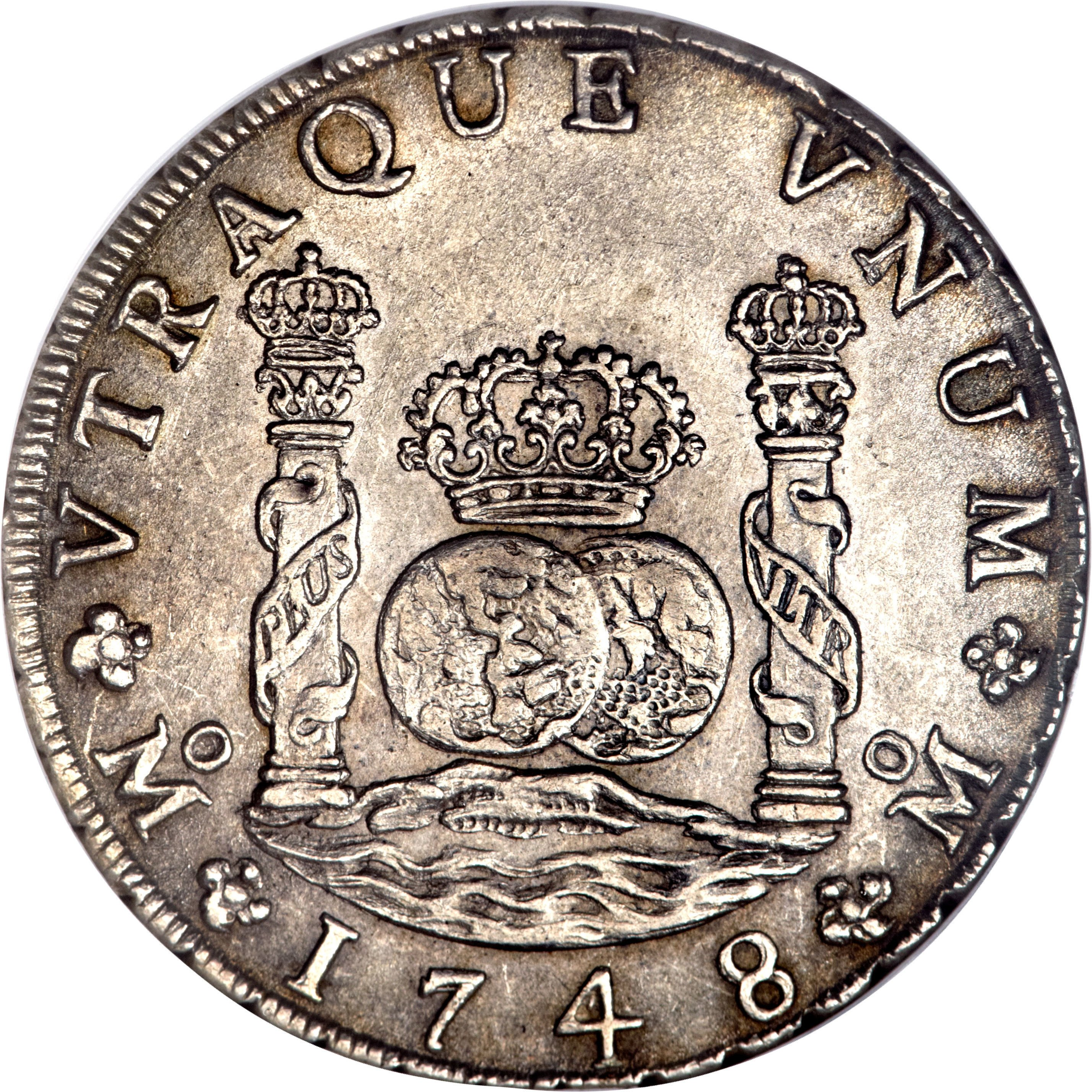 "Illustration of the specifics of the Silver 5 Shillings ""Holey Dollar"" 1813 KM# 2.5"