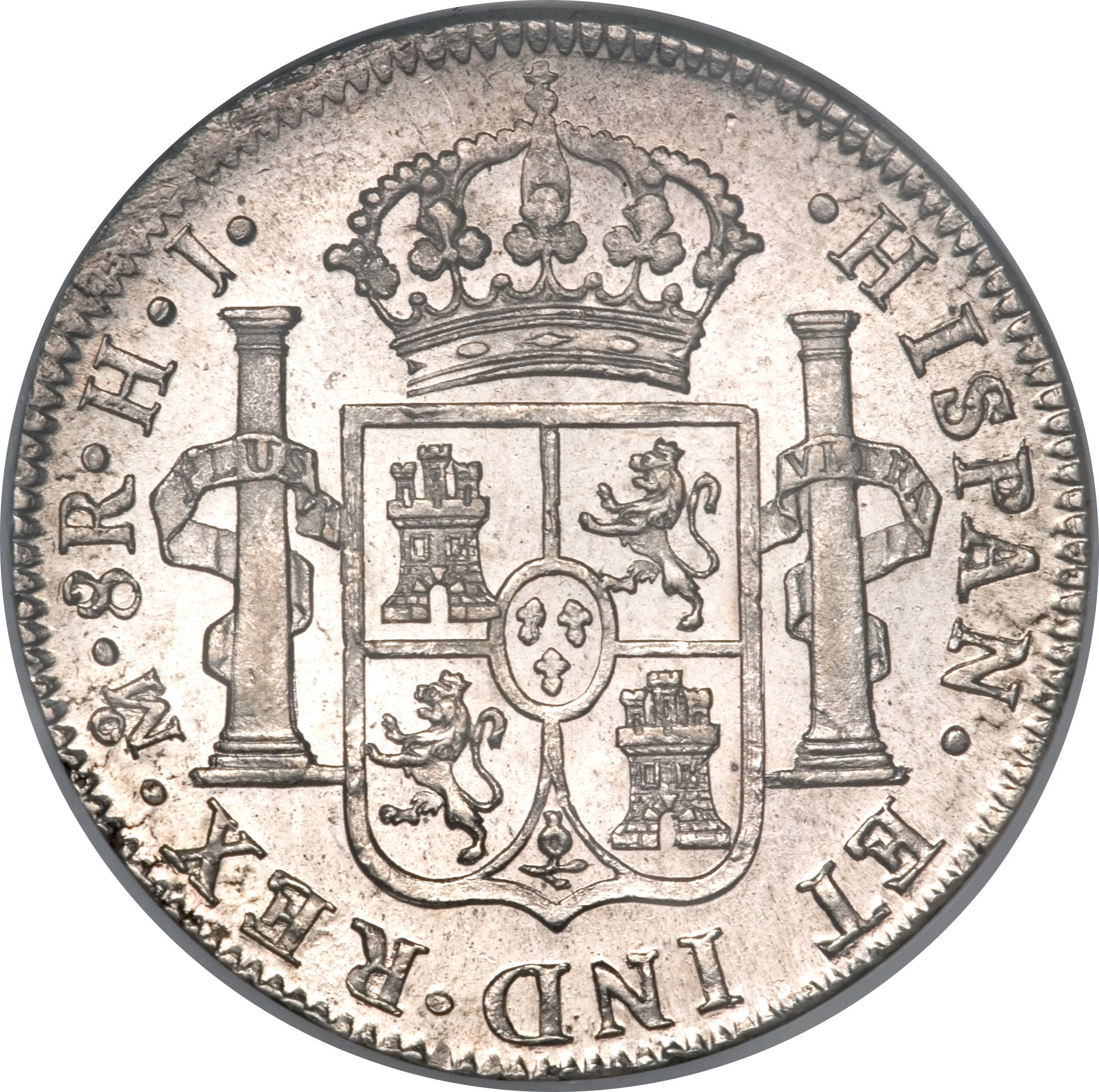 "Illustration of the specifics of the Silver 5 Shillings (1 Crown) ""Holey Dollar"" 1813 KM# 2.10"