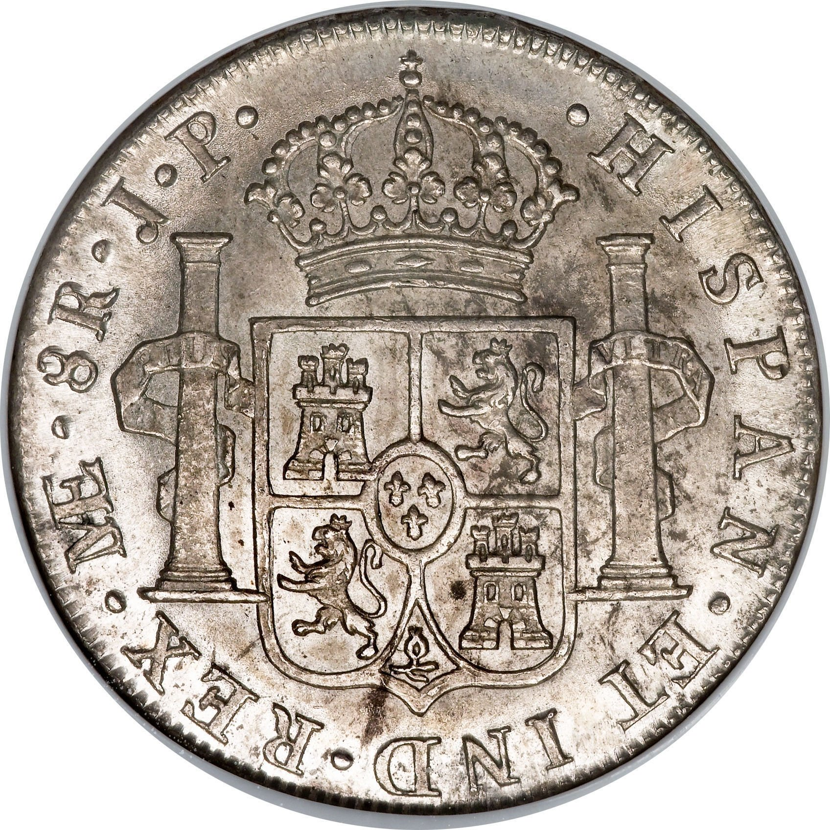 "Illustration of the specifics of the Silver 5 Shillings ""Holey Dollar"" 1813 KM# 2.13"