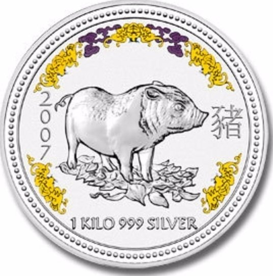 """Illustration of the specifics of the 1 Kilo Silver 30 Dollars """"Piglet (Colorized)"""" 2007"""