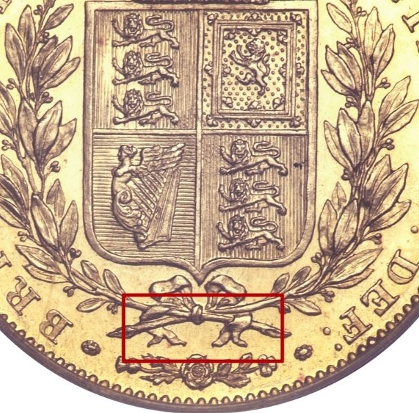 """Illustration of the specifics of the Gold Sovereign """"Victoria"""" 1838 - 1872 KM# 736.1"""
