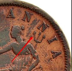 Illustration of the specifics of the 1 Penny Private Token issues 1801 - 1900 KM# Tn182.1