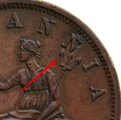 Illustration of the specifics of the 1 Penny Private Token issues 1801 - 1900 KM# Tn182.2