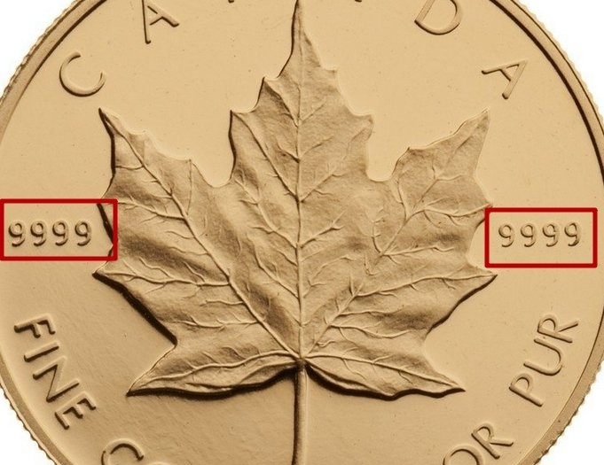 """Illustration of the specifics of the 1 Oz Gold 50 Dollars """"Maple Leaf 10th Anniversary"""" 1979 - 1989 KM# 125.2"""