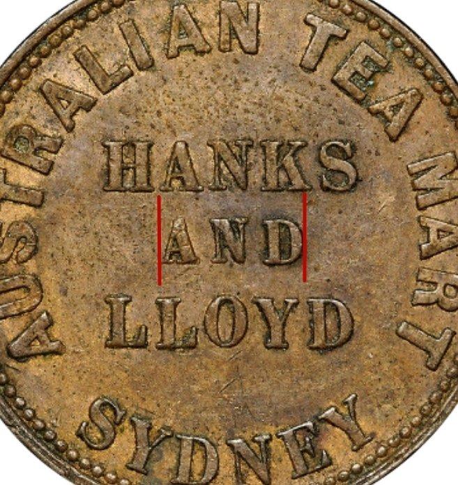 "Illustration of the specifics of the 1/2 Penny ""Hanks & Lloyd Token"" 1857 KM# Tn83.2"