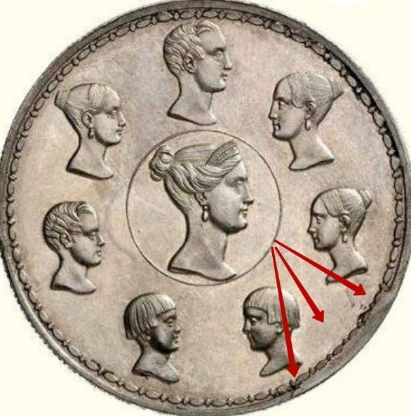 """Illustration of the specifics of the Silver 1-1/2 Roubles - 10 Zlotych """"Imperial Family"""" 1836 C# 172.2"""
