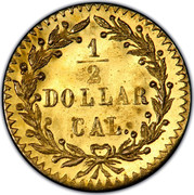 USA 1/2 Dollar Large Indian Head (Round) 1875 KM# 12.2 1/2 DOLLAR CAL coin reverse