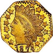 USA 1/4 Dollar Indian Head (Octagonal) 1874 KM# 2.1 *YEAR* coin obverse
