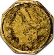 USA 1/4 Dollar Liberty Octagonal 1873 KM# 1.3 *YEAR* coin obverse