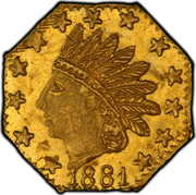 USA 1/4 Dollar Small Indian Head (Octagonal) 1881 KM# 2.3 *YEAR* coin obverse
